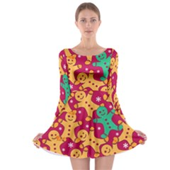 Hot Pink Gingerman Long Sleeve Skater Dress by CoolDesigns