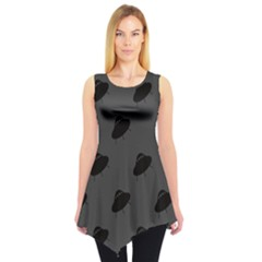 Black Ufo Web Flat Design Gray Pattern Sleeveless Tunic Top