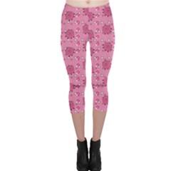 Pink Pattern With Cute Pigs Capri Leggings by CoolDesigns