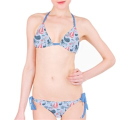 Blue Pattern With Cute Whales Sailing Octopus Bikini Set by CoolDesigns