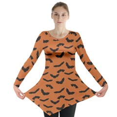 Orange Orange Halloween With Flying Bats Long Sleeve Tunic Top by CoolDesigns