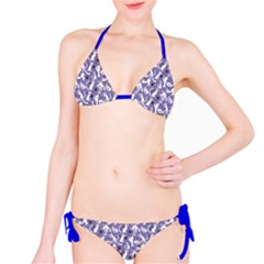 Blue Pattern With Cute White Cats Bikini Set by CoolDesigns