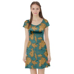 Green Adventure Map Pattern Stylish Design Short Sleeve Skater Dress by CoolDesigns