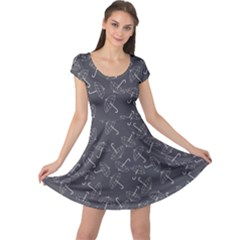Blue Pattern With Umbrellas Cap Sleeve Dress by CoolDesigns