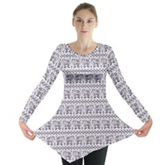 Purple Ethnic Vintage Elephant Business Long Sleeve Tunic Top by CoolDesigns