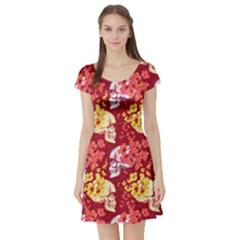 Red Skull Vintage Floral Short Sleeve Dress by CoolDesigns