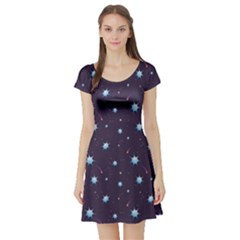 Blue Pattern Starry Night Sky Short Sleeve Skater Dress by CoolDesigns