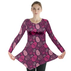 Red Pink And Purple With Skulls Long Sleeve Tunic Top by CoolDesigns