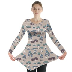 Blue Colorful Mushrooms Pattern Long Sleeve Tunic Top by CoolDesigns