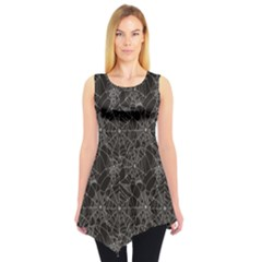 Black Halloween Spider Web Pattern Sleeveless Tunic Top by CoolDesigns