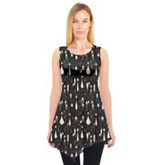 Black White Cats On Black Pattern For Your Design Sleeveless Tunic Top by CoolDesigns