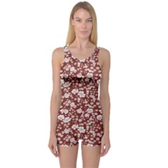 Red Floral Pattern In Retro Style Boyleg One Piece Swimsuit by CoolDesigns