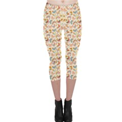 Yellow Birds Pattern Colorful Capri Leggings by CoolDesigns