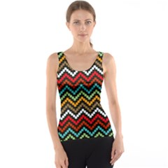 Dark Hand Painted Style Chevron Pattern Tank Top by CoolDesigns