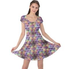 Purple Owls Pattern Cap Sleeve Dress by CoolDesigns