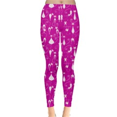 Hot Pink Cute White Cats Pattern Leggings by CoolDesigns