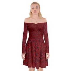Red Roses Field Off Shoulder Skater Dress