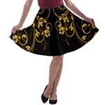 Black and Gold Floral Swirl A-line Skater Skirt
