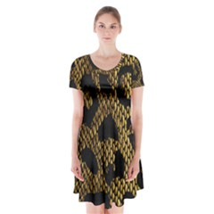 Metallic Snake Skin Pattern Short Sleeve V Neck Flare Dress by BangZart