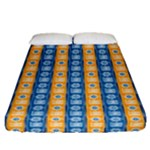 Blue and Gold Ashanti Tribal Stripes Fitted Sheet (Queen Size)