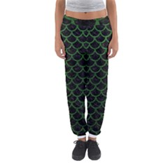 Scales1 Black Marble & Green Leather Women s Jogger Sweatpants by trendistuff