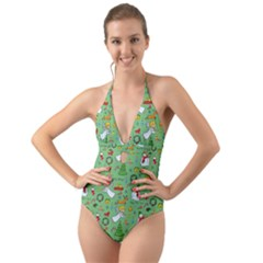 Christmas Pattern Halter Cut Out One Piece Swimsuit by Valentinaart