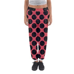 Circles2 Black Marble & Red Colored Pencil Women s Jogger Sweatpants by trendistuff