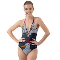 Snowman Halter Cut Out One Piece Swimsuit by Valentinaart