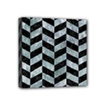 CHEVRON1 BLACK MARBLE & ICE CRYSTALS Mini Canvas 4  x 4