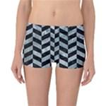 CHEVRON1 BLACK MARBLE & ICE CRYSTALS Reversible Boyleg Bikini Bottoms