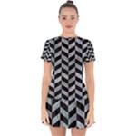 CHEVRON1 BLACK MARBLE & ICE CRYSTALS Drop Hem Mini Chiffon Dress