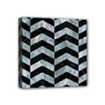 CHEVRON2 BLACK MARBLE & ICE CRYSTALS Mini Canvas 4  x 4