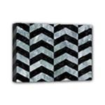 CHEVRON2 BLACK MARBLE & ICE CRYSTALS Mini Canvas 7  x 5