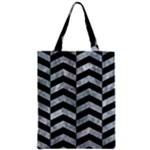 CHEVRON2 BLACK MARBLE & ICE CRYSTALS Zipper Classic Tote Bag