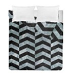CHEVRON2 BLACK MARBLE & ICE CRYSTALS Duvet Cover Double Side (Full/ Double Size)