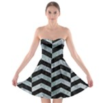 CHEVRON2 BLACK MARBLE & ICE CRYSTALS Strapless Bra Top Dress