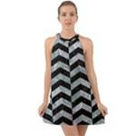 CHEVRON2 BLACK MARBLE & ICE CRYSTALS Halter Tie Back Chiffon Dress