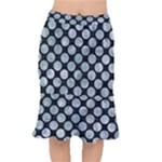 CIRCLES2 BLACK MARBLE & ICE CRYSTALS (R) Mermaid Skirt