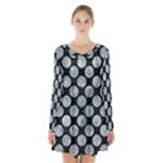 CIRCLES2 BLACK MARBLE & ICE CRYSTALS (R) Long Sleeve Velvet V-neck Dress