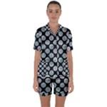 CIRCLES2 BLACK MARBLE & ICE CRYSTALS (R) Satin Short Sleeve Pyjamas Set