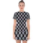 CIRCLES2 BLACK MARBLE & ICE CRYSTALS (R) Drop Hem Mini Chiffon Dress