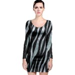 SKIN3 BLACK MARBLE & ICE CRYSTALS (R) Long Sleeve Bodycon Dress
