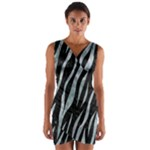 SKIN3 BLACK MARBLE & ICE CRYSTALS (R) Wrap Front Bodycon Dress