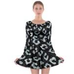 SKIN5 BLACK MARBLE & ICE CRYSTALS Long Sleeve Skater Dress
