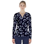 SKIN5 BLACK MARBLE & ICE CRYSTALS V-Neck Long Sleeve Top
