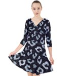 SKIN5 BLACK MARBLE & ICE CRYSTALS Quarter Sleeve Front Wrap Dress