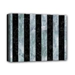 STRIPES1 BLACK MARBLE & ICE CRYSTALS Deluxe Canvas 14  x 11