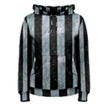 STRIPES1 BLACK MARBLE & ICE CRYSTALS Women s Pullover Hoodie