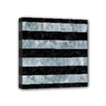 STRIPES2 BLACK MARBLE & ICE CRYSTALS Mini Canvas 4  x 4