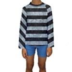 STRIPES2 BLACK MARBLE & ICE CRYSTALS Kids  Long Sleeve Swimwear